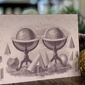 Steel engraved geometric world globes canvas print